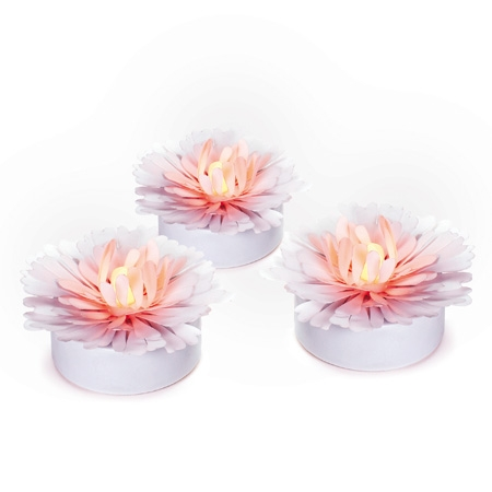 Set of 3 white Daisy - LED light