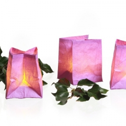 3 handcrafted paper tea light holders - purple