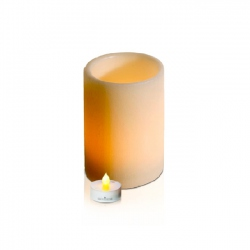 LED textured wax candle holder - H15cm