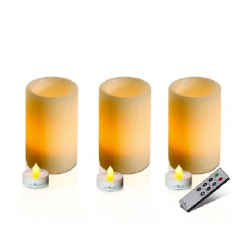 Set of 3 large ivory wax led tea light holder 7,5 X 12  cm