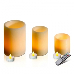 Set of 3 large ivory wax led tea light holders H 8, 12 & 15 cm