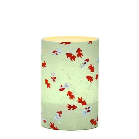 LED candle holder Gold fish green - H9CM