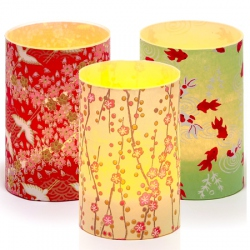 Set of 3 candle holders - Japanese paper - H 9 cm