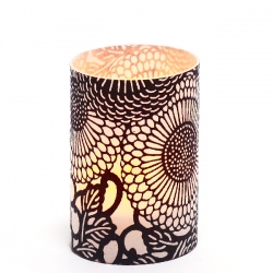 LED candle holder Large Black Flowers - H 9 cm