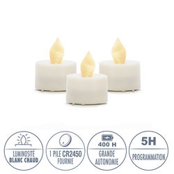 3 LED white tealight candles Ø3.8CM