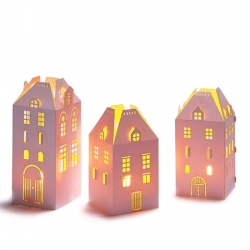 Set of 3 houses holders for led candles