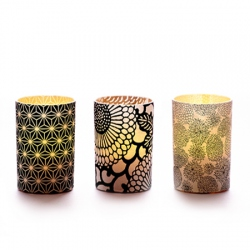 Set of 3 candle holders - Japanese paper #6 - H 6,7 cm