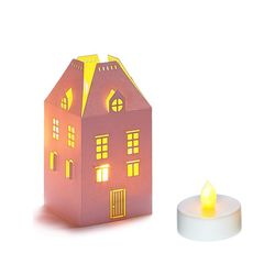 House Holder made in Paper H 13,5cm - with 1 LED candle