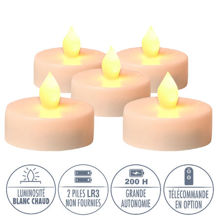 3 LED 'warm white' tealights - Ø5.5CM
