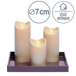 3 Bougies LED ivoire flamme oscillante
