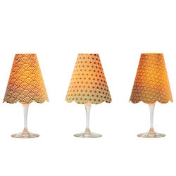 3 lampshades for wine glass for led candles - gold
