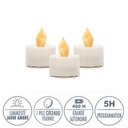 3 LED amber yellow tealight candles - Ø3.8CM