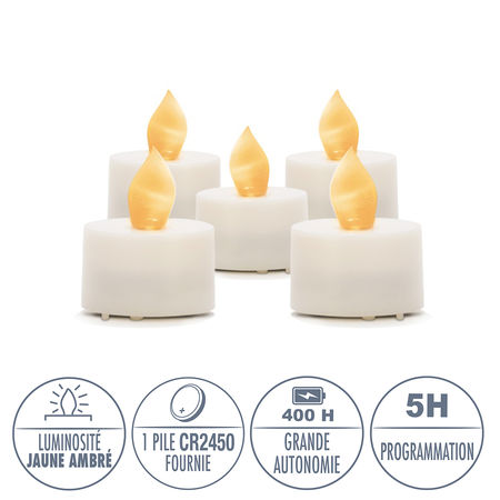 5 LED amber yellow tealight candles - Ø3.8CM