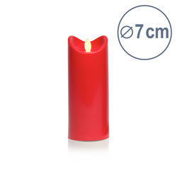 LED candle with moving flame - Red - H17.5CM