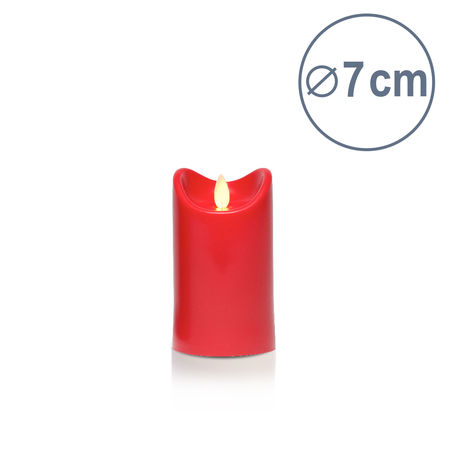 LED candle with moving flame - Red- H12.5CM