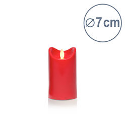 LED candle with moving flame - Red - H12.5CM