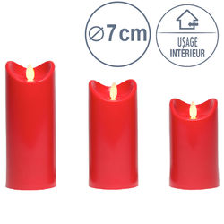 3 LED candles with moving flame - Red - Ø 7 cm - H 12,5 - 15 - 17,5 cm