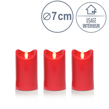 3 Bougies led rouge - H12.5CM