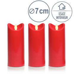 3 Bougies led rouge - H17.5CM
