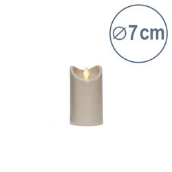 LED candle with moving flame - Light Grey - H12.5CM