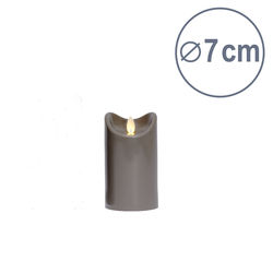 LED candle with moving flame - Anthracite Grey - H12.5CM