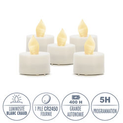 5 LED white tealight candles Ø3.8CM