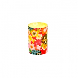 Small LED candle holder Red Japanese Flowers - H 6.7 cm