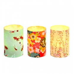 Set of 3 candle holders - Japanese paper #5 - H 6,7 cm