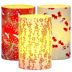 Set of 3 LED candle holders - Japanese paper - H 11,5 cm