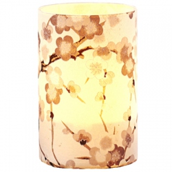 Large LED Candle Holder Grey Pastel Cherry Blossom - H11.5cm