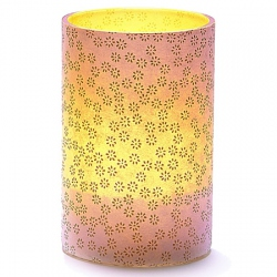 LED Candle Holder Small Gold Flowers - H11.5cm