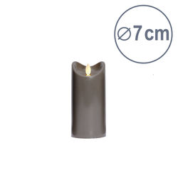 LED candle with moving flame - Anthracite Grey - H15CM
