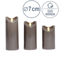 3 LED candles with moving flame - Anthracite - Ø 7 cm - H 12,5 - 15 - 17,5 cm