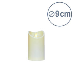 LED candle with moving flame -Ivory- H14.5CM - Ø9cm