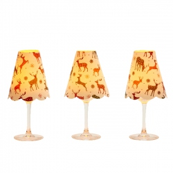 3 lampshades for wine glass - deers