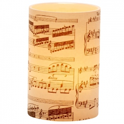 Large LED candle holder Black Musical Score - H11.5CM