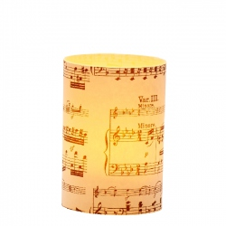 LED candle holder Black Musical Score - H 9 cm