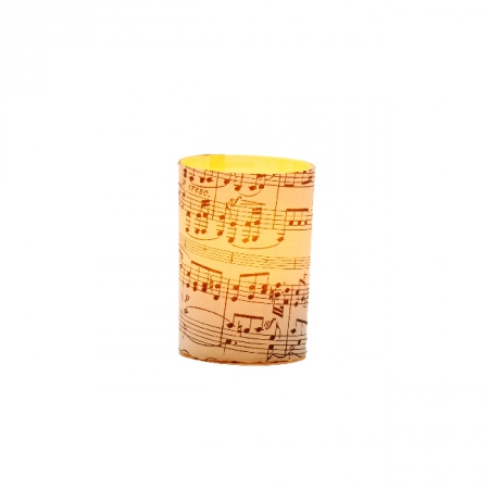 Small LED candle holder Music paper - H 6.7 cm