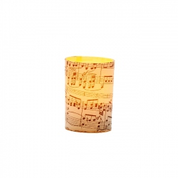 LED candle holder Black Musical Score - H 6,7 cm