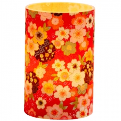 Large LED candle holder Red Japanese Flowers - H11.5CM