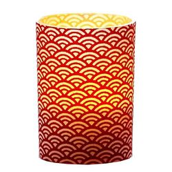 Large LED Candle Holder Red Waves - H11.5cm