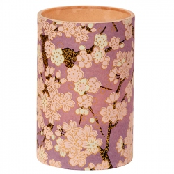 Large LED Candle Holder Mauve Cherry Blossom - H11.5cm