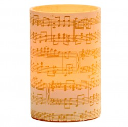 Large LED candle holder Gold Musical Score - H11.5CM