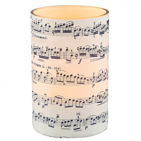 Large LED candle holder Blue Musical Score - H11.5CM