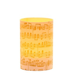 LED candle holder Gold Musical Score - H 9 cm