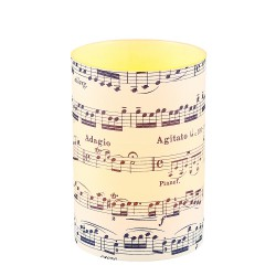 LED candle holder Blue Musical Score - H 9 cm