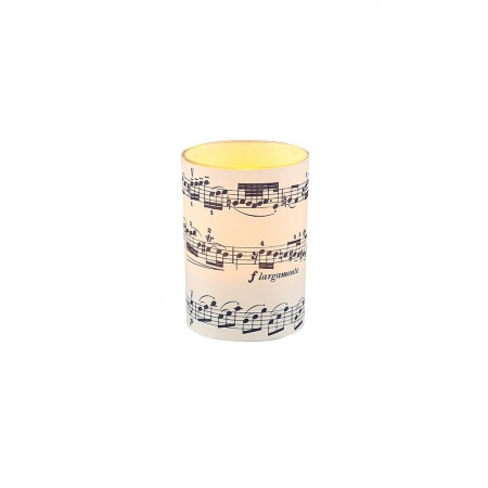 LED candle holder Blue Musical Score - H 6,7 cm