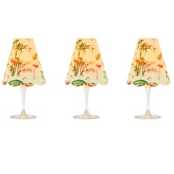 3 lampshades for wine glass - flamingo