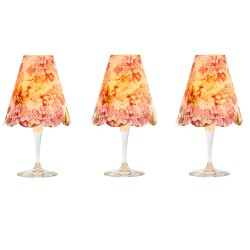 3 lampshades for wine glass - Peach tree flowers
