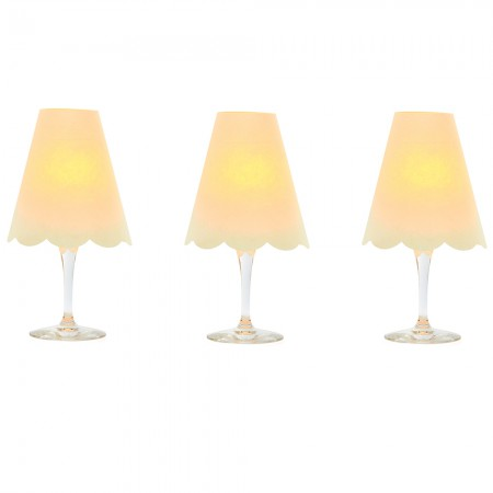 3 lampshades for wine glass - japanese white paper